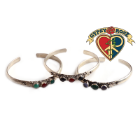 Layla Silvertone Bangle Bracelet with Assorted Stones