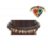 Leather Band With Earth Tone Beads Bracelet