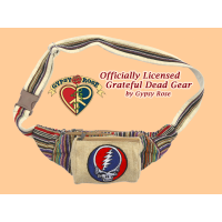Grateful Dead Steal Your Face Hand Embroidered Cotton Hip Satchel