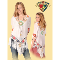 COTTON POLY BLEND CROCHET FRINGE BLOUSE
