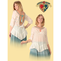 COTTON POLY BLEND CROCHET OPEN BACK BLOUSE