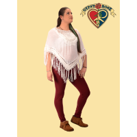 Feel Free Cotton Poly Blend Crochet Fringe Mandala Capelet