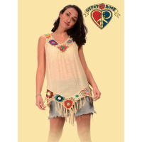 Free Fallin' Cotton Poly Blend Crochet Fringe Blouse