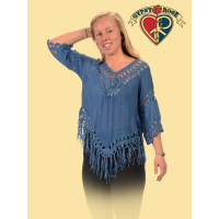 For Your Love Cotton Poly Blend Crochet Fringe Blouse