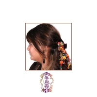 TRIBAL ART LARGE BUTTERFLY CLIP WITH POM POMS & SHELLS