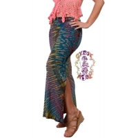 Electric Lady Tye Dye Spandex Blend Skirt w/Side Slit & Drawstring