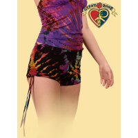 Rockin' In The Free World Tye Dye Spandex Blend Shorties W/ Side Pulleys