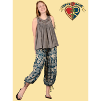Jungle Groove Elephant Print Rayon 2-Way Palazzo / Harem Pants