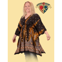 XL Plumage Parade Print Rayon Cape