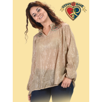 Heritage Festival Cotton Metallic Thread Hippie Top With Flower Embroidery