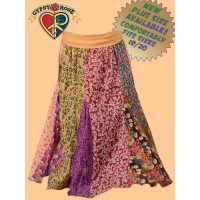 How Sweet It Is Yoga Waistband Printed Cotton Panel Skirt - Plus Size