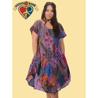 Little Wing Patchwork Printed Cotton Short Dress