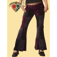 Stretchy Velvet Patchwork Pants With Comfy Waistband Pants