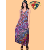Free Falling Patchwork Printed Cotton Long Dress
