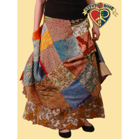 REVERSIBLE PATCHWORK SILK LIKE WRAP SKIRT / DRESS