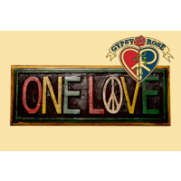"""One Love"" Painted Wooden Plaque Wall Hanging"