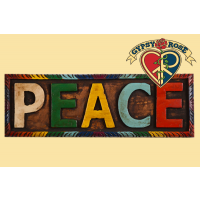 """Peace"" Painted Wooden Wall Plaque"