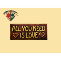 ALL YOU NEED IS LOVE PAINTED WOODEN WALL PLAQUE WALL HANGING