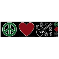 PEACE, LOVE, MUSIC SYMBOLS BUMPER STICKER