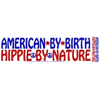 American By Birth Hippie By Nature Sticker