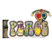 PEACE PSYCHEDELIC LETTERS WINDOW STICKER